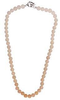 Pink Aventurine 8Mm Plain Round Beads 18 Inch Bold Necklace (Design 1)