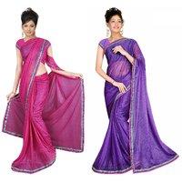 Sukuma Purple & Pink Viscose Plain Saree With Blouse