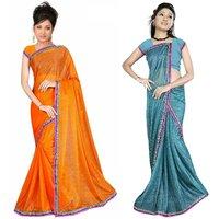 Sukuma Blue & Orange Viscose Plain Saree With Blouse