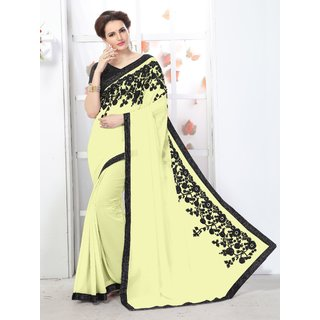 Onlinefayda Beige fancy Lace Border Saree with Blouse Piece