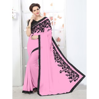 Onlinefayda Pink fancy Lace Border Saree with Blouse Piece