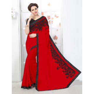 Online Fayda Red Georgette Embroidered Saree With Blouse