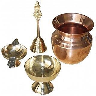 Raashi Brass Jyot Diya, Ghanti (Bell), Aarti Diya and Copper Lota set