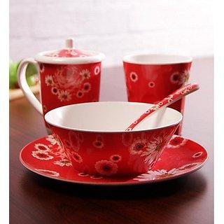 Superware(Ektra0 Spring Story Design Breakfast Set 400 ML Mug  Bowl - Set of 5