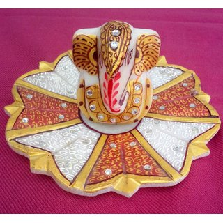 chitrahandicraft Marble flower golden Ganesh