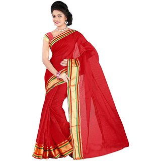 hari tax red cotton saree