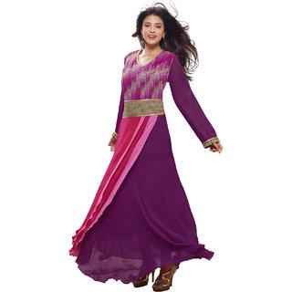 Surat Tex Purple ColorEmbroidered Georgette Semi-Stitched Salwar Suit-C638DL132R