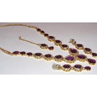 Purple Tilak stone Necklace set