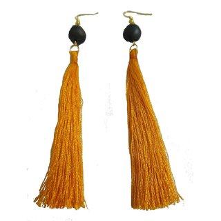 Golden Yellow Silk Tassel with Terracotta Bead Earrings for Girls