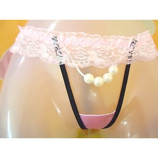 BRIDAL FINE QUALITY SATIN PINK PANTY THONG WITH PEARLS