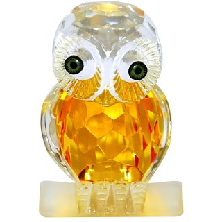 White Crystal Owl In Diamond Cut Feng Shui