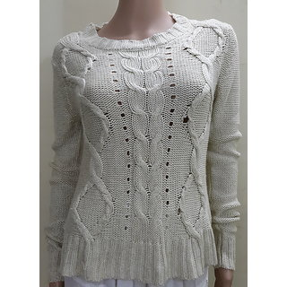 Offwhite formal full sleeves sweater for stylish women Plus FREE GIFT