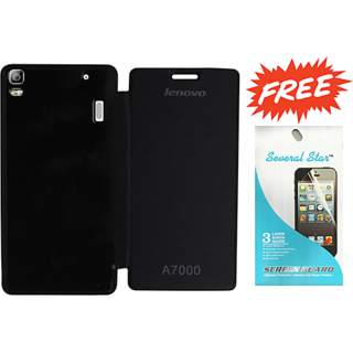 Lenovo A7000 Flip cover Black with screen guard combo set