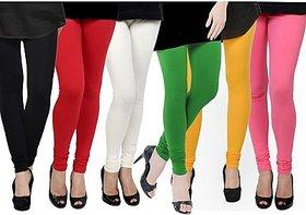 Pack of 6 Lycra Leggings - Black/Red/White/Green/Yellow/Magenta