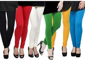 Pack of 6 Lycra Leggings - Black/Red/White/Green/Yellow/Turquoise