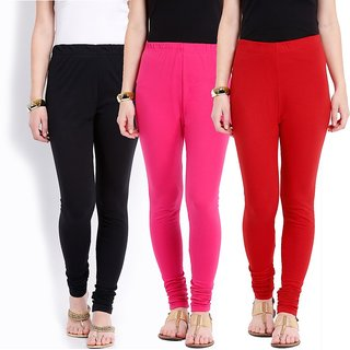 Combo - 3 Cotton Lycra Leggings - Black/Magenta/Red