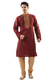 Sanwara Mens Ethnic Emboridared Maroon Kurta Churidar Set