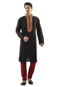Sanwara Mens Ethnic Embroirdary Black Kurta Churidar Set