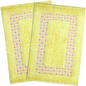 Saral Home Yellow Cotton Bath Mat (Set Of 2)