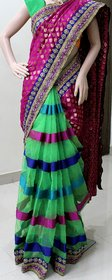 Bhama Creations Multicolor Brocade Self Design Saree With Blouse
