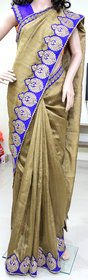 Bhama Creations Multicolor Linen Self Design Saree With Blouse