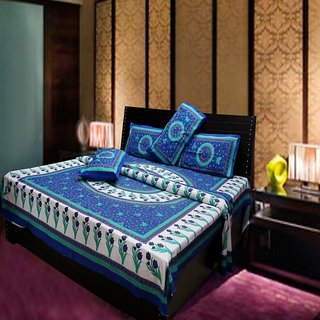 Akash Ganga Multi-Colour Pure Cotton Double Bedsheet with 2 Pillow Cover (Hind3)