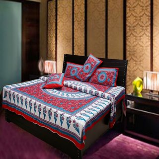 Akash Ganga Multi-Colour Pure Cotton Double Bedsheet with 2 Pillow Cover (Hind8)