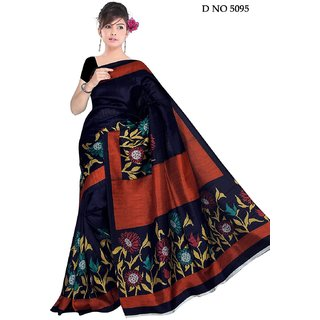 Womens Multi Coloured Bhagalpuri Silk Saree with Blouse Piece