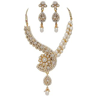 Fashion Gold Plated Imitation Necklace Set with Earrings
