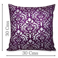 Zikrak Exim Silver  Purple Poly Velvet Cushion Covers 12 X 12 Inches