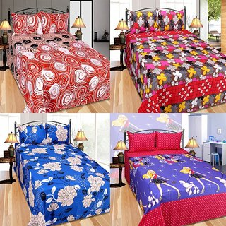 FURNISHING ZONE HIGH QUALITY PRINTED 4 BED SHEET WITH 8 PILLOW COVERS