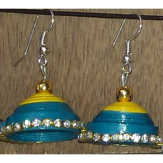 Paper Quelling Earrings Blue Yellow