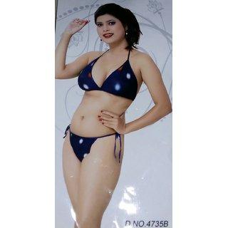 Womens 2pc Bikini G-string Daily bedroom fun Lingerie Set Blue Bra  Panty Nigh