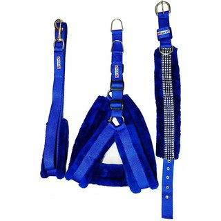 Petshop7 Nylon Blue fur Harness, Collar  Leash 0.75 Inch Small