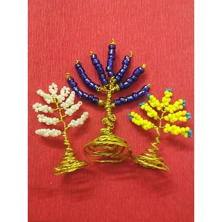 Set of 3 Seed Beaded Golden Wired Miniature Trees for Decoration
