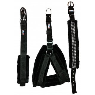 Petshop7 Black Nylon Harness, Collar  Leash with Fur 0.75 Inch Small