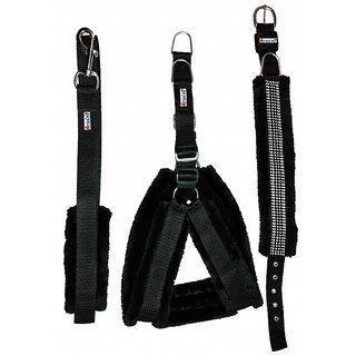 Petshop7 Black Nylon Harness, Collar  Leash with Fur 1 Inch Medium