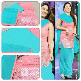 Radhey Arts New Designer Pink chanderi patiyala salwar suit