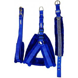 Petshop7 Blue Nylon Harness, Collar  Leash with Fur 1 Inch Medium