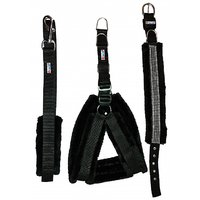 Petshop7 Black Nylon Harness, Collar  Leash With Fur 1.25 Inch Large