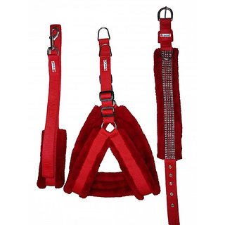 Petshop7 Red Nylon Harness, Collar  Leash with Fur 1.25 Inch Large