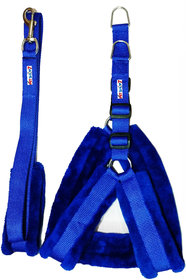 Petshop7 Nylon Blue fur Harness  Leash 0.75 Inch Small