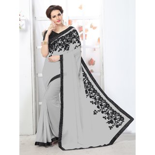 Online Fayda White Chiffon Embroidered Saree With Blouse