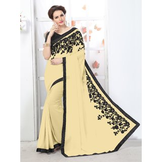 Online Fayda Beige Chiffon Embroidered Saree With Blouse