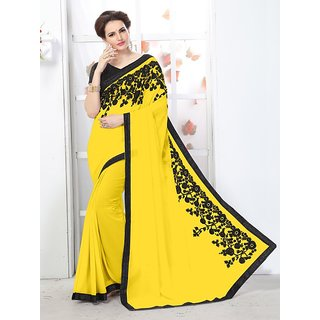 Online Fayda Yellow Chiffon Embroidered Saree With Blouse