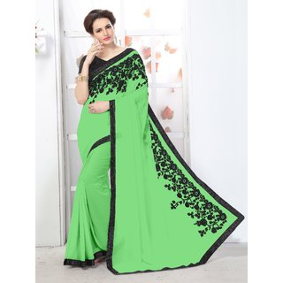 Online Fayda Green Chiffon Embroidered Saree With Blouse