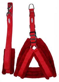 Petshop7 Nylon Red fur Harness, Collar  Leash 0.75 Inch Small