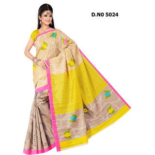 Manvaa Fancy Multicolour Bhagalpuri Saree Designer Print With Unstiched BlouseBGLP5024