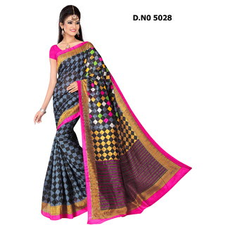Manvaa Dashing Multicolour Bhagalpuri Saree Designer Print With Unstiched BlouseBGLP5028