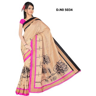 Manvaa Artistic Multicolour Bhagalpuri Saree Designer Print With Unstiched BlouseBGLP5034